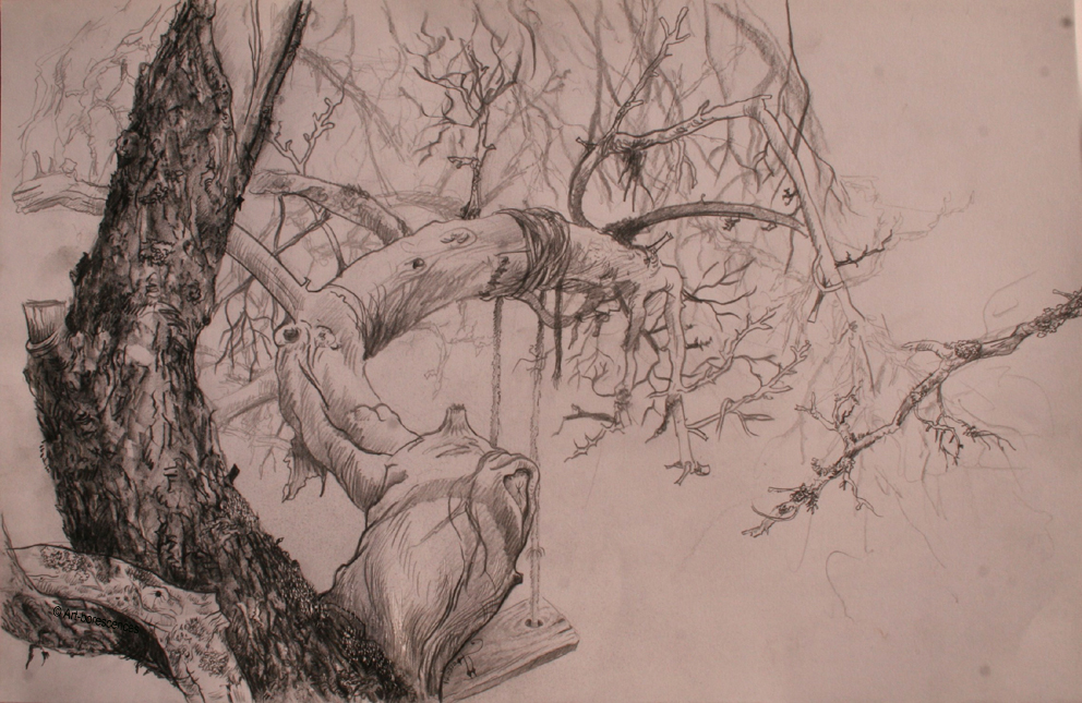 Dessins mine graphite art borescences arbres - Dessin de arbre ...